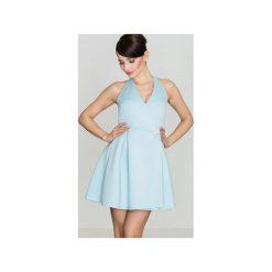 Sukienka K386 Niebieski. Niebieskie sukienki asymetryczne marki Lenitif, s, z asymetrycznym kołnierzem. Za 139,00 zł.