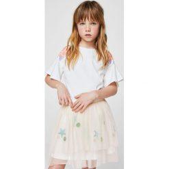 Mango Kids - Spódnica dziecięca Pale 104-152 cm. Szare spódniczki dziewczęce Mango Kids, z aplikacjami, z bawełny, mini. W wyprzedaży za 49,90 zł.
