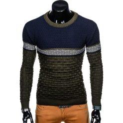 SWETER MĘSKI E132 - KHAKI. Brązowe swetry klasyczne męskie marki Inny, m. Za 49,00 zł.