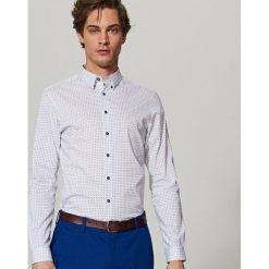 Koszula we wzory super slim fit - Biały. Białe koszule męskie slim marki Reserved, l. Za 99,99 zł.