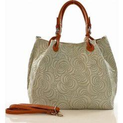 Kuferki damskie: Skórzana torebka shopper MAZZINI - LINDA szara