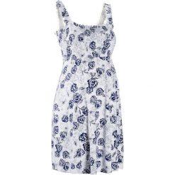 Sukienka ciążowa shirtowa bonprix biało-kobaltowy w kwiaty. Białe sukienki ciążowe bonprix, w kwiaty, z dżerseju. Za 89,99 zł.
