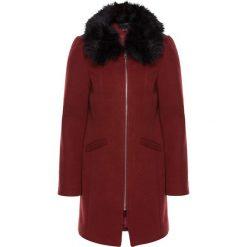 Płaszcze damskie pastelowe: Płaszcz wełniany z odpinanym kołnierzem ze sztucznego futerka bonprix czerwony kasztanowy - czarny