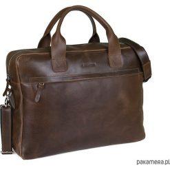 Skórzana torba na laptop na ramię Brodrene BL03. Brązowe torby na ramię męskie marki Kazar, ze skóry, przez ramię, małe. Za 399,00 zł.