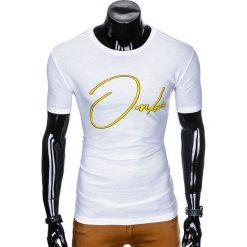 T-shirty męskie: T-SHIRT MĘSKI Z NADRUKIEM S989 - BIAŁY