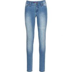 Dżinsy SKINNY bonprix niebieski bleached. Niebieskie jeansy damskie skinny marki bonprix, z nadrukiem. Za 59,99 zł.