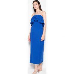 Niebieska Sukienka Długa Elegancka z Falbankami. Niebieskie długie sukienki Molly.pl, l, z materiału, eleganckie, z falbankami, z długim rękawem, proste. Za 175,90 zł.