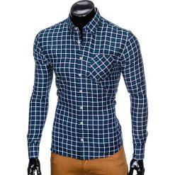 KOSZULA MĘSKA W KRATĘ Z DŁUGIM RĘKAWEM K429 - GRANATOWA/ZIELONA. Zielone koszule męskie na spinki marki Ombre Clothing, na zimę, m, z bawełny, z kapturem. Za 59,00 zł.