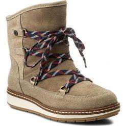 Śniegowce TOMMY HILFIGER - Wooli 14C FW0FW01597 Sand 102. Brązowe buty zimowe damskie marki TOMMY HILFIGER, ze skóry. W wyprzedaży za 399,00 zł.