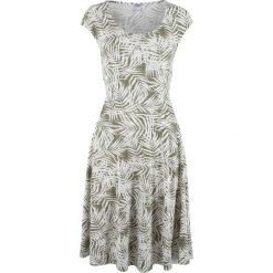 Sukienki: Sukienka bonprix oliwkowo-biały z nadrukiem
