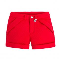 Szorty w kolorze czerwonym. Czerwone spodenki dziewczęce marki Mayoral, w paski. W wyprzedaży za 59,95 zł.