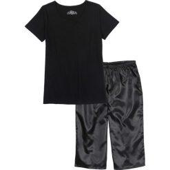 Piżamy damskie: Piżama ze spodniami satynowymi w dł. 3/4 bonprix czarny