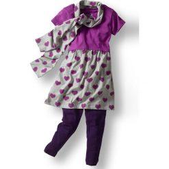 Sukienka, legginsy + szal (3 części) bonprix piwonia-jasnoszary melanż. Fioletowe szaliki damskie marki bonprix, melanż. Za 37,99 zł.