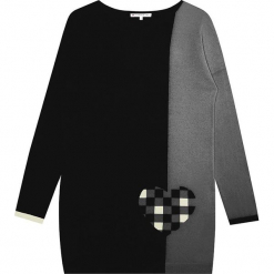 Sukienka kaszmirowa w kolorze szaro-czarnym. Sukienki małe czarne Ateliers de la Maille, na imprezę, z kaszmiru, z okrągłym kołnierzem. W wyprzedaży za 454,95 zł.