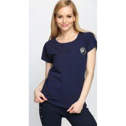 T-shirty damskie: Granatowy T-shirt By Yourself