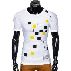 T-SHIRT MĘSKI Z NADRUKIEM S1000 - BIAŁY. Czarne t-shirty męskie z nadrukiem marki Ombre Clothing, m, z bawełny, z kapturem. Za 29,00 zł.
