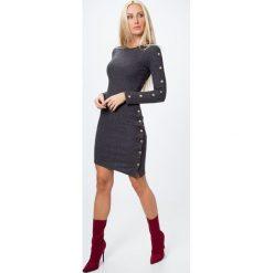 Sukienki: Sukienka ze złotymi detalami ciemnoszara 6469