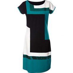 Sukienki: Sukienka shirtowa bonprix czarno-ciemnoszmaragdowy