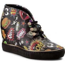 Sneakersy CARINII - B3995/OT K08-000-000-B88. Czarne sneakersy damskie marki Carinii, z materiału, z okrągłym noskiem, na obcasie. W wyprzedaży za 239,00 zł.