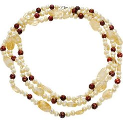 Naszyjniki damskie: Naszyjnik z perłami i cytryntami – (D)144 cm