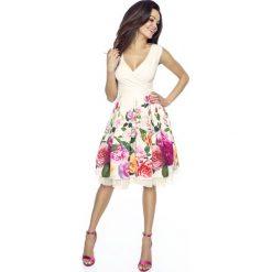 Odzież damska: Beżowa Sukienka Koktajlowa w Kwiaty z Tiulem
