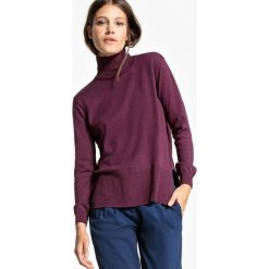 Sweter z wywijanym kołnierzem i pęknięciami po bokach. Szare golfy damskie marki La Redoute Collections, m, z bawełny, z kapturem. Za 151,16 zł.