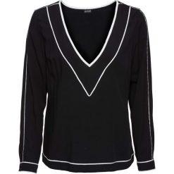 Bluzki damskie: Bluzka z lamówką bonprix czarno-biel wełny