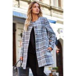 Klasyczny płaszcz w kratę s138. Szare płaszcze damskie marki QUIOSQUE, uniwersalny, w paski, eleganckie. Za 229,00 zł.