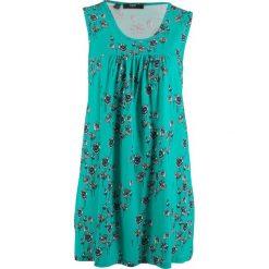 Sukienka shirtowa, bez rękawów bonprix zielony oceaniczny w kwiaty. Zielone sukienki marki bonprix, w kwiaty, bez rękawów. Za 74,99 zł.
