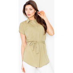 Bluzki, topy, tuniki: Oliwkowa Koszulowa Tunika z Krótkim Rękawem z Wiązanym Paskiem
