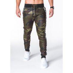 SPODNIE MĘSKIE DRESOWE P653 - ZIELONE/MORO. Zielone spodnie dresowe męskie Ombre Clothing, moro, z bawełny. Za 55,00 zł.