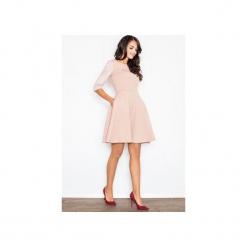 Sukienka M235 Róż. Szare sukienki balowe marki FIGL, m, z bawełny, z asymetrycznym kołnierzem, z długim rękawem. Za 139,00 zł.