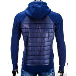 BLUZA MĘSKA ROZPINANA Z KAPTUREM B578 - GRANATOWA. Niebieskie bejsbolówki męskie Ombre Clothing, m, z bawełny, z kapturem. Za 75,00 zł.