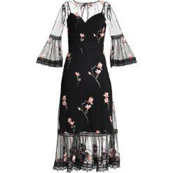 Forever New EMBROIDERED MIDI DRESS Długa sukienka black. Czarne długie sukienki Forever New, z materiału, z długim rękawem. Za 469,00 zł.