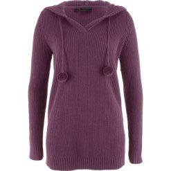 Swetry klasyczne damskie: Długi sweter z kapturem bonprix czarny bez
