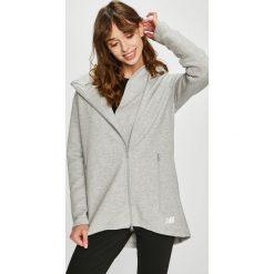 New Balance - Bluza. Szare bluzy rozpinane damskie New Balance, l, z bawełny, z kapturem. Za 349,90 zł.