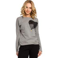 KENZIE Bluza ze skórzanym sercem - szara. Szare długie bluzy damskie Moe, s, z dresówki, z długim rękawem. Za 99,00 zł.