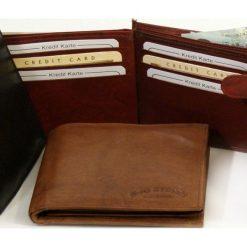 Jasno brązowy Portfel męski Bag Street - skóra cielęca. Brązowe portfele męskie Bag Street, z materiału. Za 44,90 zł.