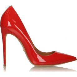 Czerwone czółenka damskie. Białe buty ślubne damskie marki Kazar, ze skóry, na wysokim obcasie, na szpilce. Za 469,00 zł.