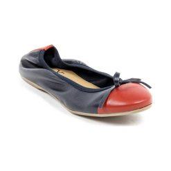 Baleriny damskie: Skórzane baleriny w kolorze ciemnoniebiesko-czerwonym