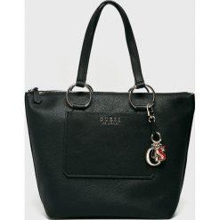 Guess Jeans - Torebka. Brązowe torebki klasyczne damskie marki Guess Jeans, z aplikacjami, z bawełny, duże. Za 649,90 zł.