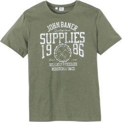 T-shirt z nadrukiem Regular Fit bonprix oliwkowy. Zielone t-shirty męskie z nadrukiem marki QUECHUA, m, z elastanu. Za 34,99 zł.