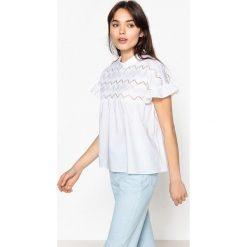 Bluzki asymetryczne: Głądka bluzka z okrągłym dekoltem i krótkim rękawem