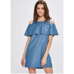 Vila - Sukienka Liama. Szare sukienki mini marki Vila, na co dzień, z bawełny, casualowe, z okrągłym kołnierzem, z krótkim rękawem. W wyprzedaży za 129,90 zł.