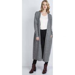 Swetry damskie: Szary Długi Sweter Płaszczowy bez Zapięcia
