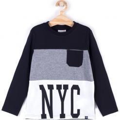 Koszulka. Czarne t-shirty chłopięce z długim rękawem BASIC BOY, z aplikacjami, z bawełny. Za 29,90 zł.