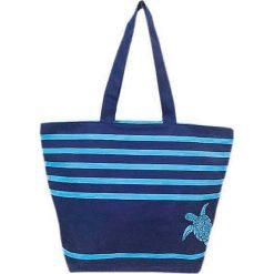 """Torba plażowa """"Bahia"""" w kolorze granatowo-błękitnym - 35 x 58 x 23 cm. Niebieskie torby plażowe Le Comptoir de la Plage, z tworzywa sztucznego. W wyprzedaży za 38,95 zł."""