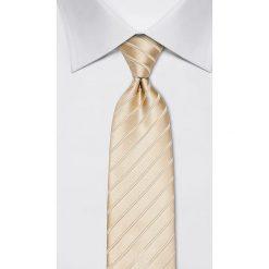 Krawaty męskie: Jedwabny krawat w kolorze kremowym – szer. 8 cm