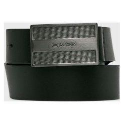 Jack & Jones - Pasek skórzany. Czarne paski męskie marki Jack & Jones, l, z bawełny, z klasycznym kołnierzykiem, z długim rękawem. Za 119,90 zł.