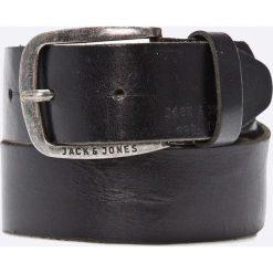 Jack & Jones - Pasek skórzany. Czarne paski męskie marki Jack & Jones, l, z bawełny, z klasycznym kołnierzykiem, z długim rękawem. W wyprzedaży za 79,90 zł.